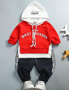 billige Tøjsæt til drenge-Drenge Tøjsæt Daglig Polyester Efterår Halvlange ærmer Afslappet Grøn Hvid Rød Gul