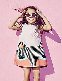 billige Babykjoler-Baby Pigens Kjole Daglig Ensfarvet Dyretryk, Bomuld Hør Bambus Fiber Akryl Forår Uden ærmer Simple Sort Lyserød