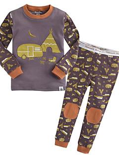 billige Undertøj og sokker til piger-Unisex Nattøj Mønster, Nylon Langærmet Normal Hvid Grå Lysegrå