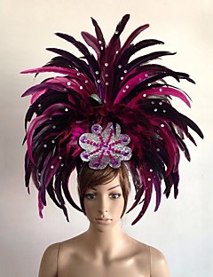 cheap Halloween & Carnival Costumes-Carnival Hats Feather Samba Headdress Yellow Red Green Blue Fuchsia Feather Cosplay Accessories Carnival Masquerade