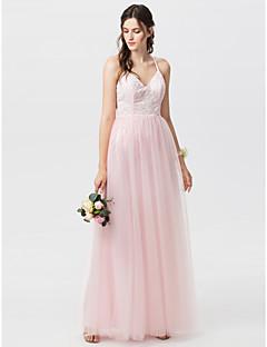 billige Romantisk rosa-A-linje Prinsesse Spagettistropper Gulvlang Blomsterblonder Brudepikekjole med Appliqué Plissert av LAN TING BRIDE®