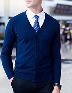 tanie Męskie swetry i swetry rozpinane-Męskie Prosty Na co dzień W serek Rozpinany Solid Color Długi rękaw