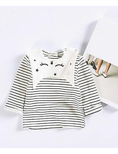 billige Babyoverdele-Baby Pige T-shirt Stribet, Bomuld Langærmet Striber/riller Hvid Lyserød