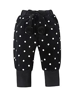 billige Bukser og leggings til piger-Pige Bukser Ensfarvet Prikker, Bomuld Bambus Fiber Spandex Forår Aktiv Brun Sort Grå