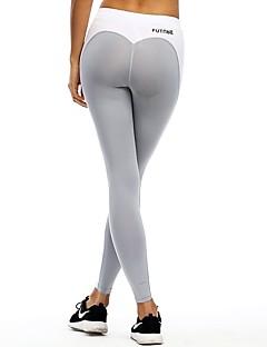 זול -בגדי ריקוד נשים טלאים טייץ לריצה - לבן, אפור כהה, אפור ספורט צורני טייץ רכיבה על אופניים / חותלות לבוש אקטיבי מתיחה, באט הרם