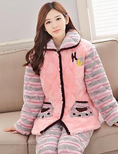 billige Moteundertøy-Dame Dress Pyjamas Tykk Kashmir Rosa
