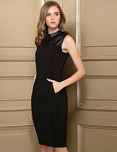 Χαμηλού Κόστους BAOYAN-Γυναικεία Βίντατζ Λεπτό Θήκη Φόρεμα - Μονόχρωμο Ως το Γόνατο Στρογγυλή Ψηλή Λαιμόκοψη