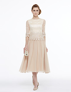 cheap Wedding Guest Dresses-A-Line Princess Jewel Neck Tea Length Chiffon Beaded Lace Mother of the Bride Dress with Appliques Lace Pleats by LAN TING BRIDE®