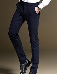 billige Herrebukser og -shorts-Herre Forretning Fritid Elastisk Bedrift Bukser, Mellomhøyt liv Miljøvennlig Polyester Ensfarget Vinter
