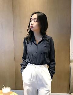 preiswerte Damen-Oberteile-Damen Solide - Retro Hemd, V-Ausschnitt Baumwolle
