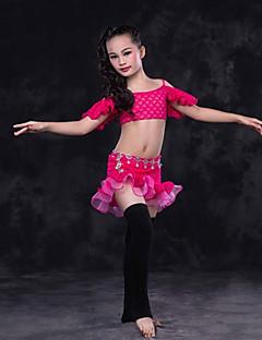 tanie Dziecięca odzież do tańca-Taniec brzucha Outfits Wydajność Koronka Koronka Falbany Z krótkim rękawem Wypada Spódnice Top