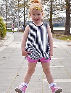 billige Babykjoler-Baby Pigens Kjole Daglig Ensfarvet Stribet, Uld Bomuld Bambus Fiber Forår Uden ærmer Simple Vintage Sort