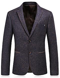 billige Herremote og klær-Rayon Polyester Store størrelser Normal V-hals Blazer Ensfarget Vår Høst Fritid Klubb Herre