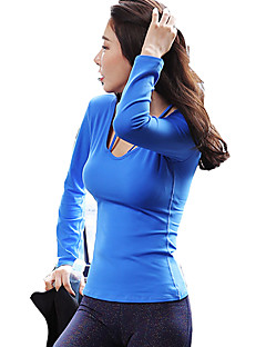 billiga Träning-, jogging- och yogakläder-Dam Öppen Rygg T-shirt för jogging - Svart, Fuchsia, Himmelsblå sporter Överdelar Långärmad Sportkläder Snabb tork, Bärbar, Mateial som