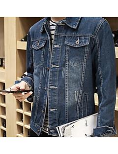 お買い得  メンズジャケット&コート-男性用 ジャケット シャツカラー ソリッド, コットン デニム
