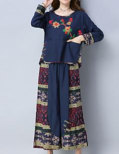お買い得  レディースツーピースセット-女性用 コットン セット - 特大の, ソリッド チェック スカート
