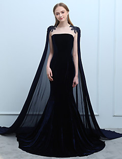 cheap Special Occasion Dresses-Mermaid / Trumpet Jewel Neck Court Train Chiffon Velvet Formal Evening Dress with Beading Lace by LAN TING Express