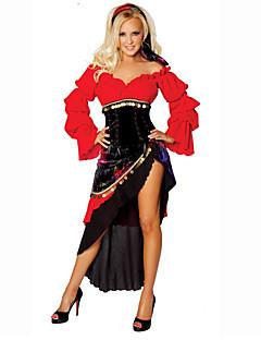 billige Halloweenkostymer-Sigøyner Cosplay Kostumer Party-kostyme Dame Halloween Karneval Oktoberfest Festival / høytid Halloween-kostymer Drakter Rød