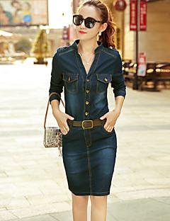 お買い得  レディースドレス-女性用 ワーク モダンシティ ストリートファッション シース デニム ドレス ソリッド 膝上 スタンド