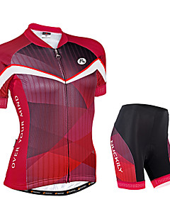 billige Sykkelklær-Nuckily Dame Kortermet Sykkeljersey med shorts - Rød Geometrisk Sykkel Shorts Jersey Klessett, Pustende, Refleksbånd