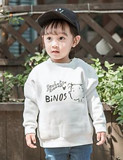 billige Babyoverdele-Baby Pige T-shirt Ord, Bomuld Langærmet Normal Hvid Sort