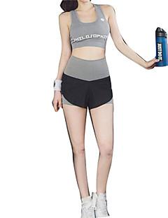 billiga Träning-, jogging- och yogakläder-Dam T-shirt och shorts till jogging - Svart sporter Klädesset Kortärmad Sportkläder Snabb tork, Mateial som andas, Supertunn