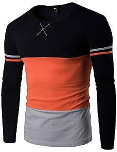 cheap Men's Fashion & Clothing-Men's Simple Plus Size Cotton T-shirt - Color Block Round Neck