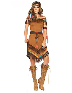cheap -American Indian Costume Women's Outfits Brown Vintage Cosplay Chinlon Nylon Short Sleeves Cap Mid Thigh Mini