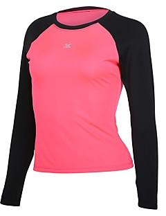 billiga Träning-, jogging- och yogakläder-Dam Rund hals Lappverk T-shirt för jogging - Blå, Rosa, Grå sporter T-shirt Långärmad Sportkläder Snabb tork, Vindtät