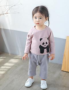 billige Babyoverdele-Baby Pige T-shirt Mesterværker, Bomuld Langærmet Normal Hvid Lyserød Grå