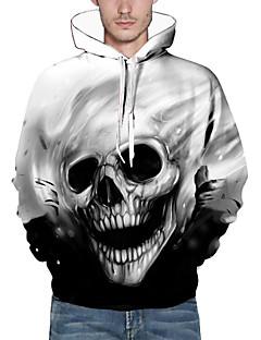 זול אופנה ובגדי גברים-שרוול ארוך חורף סתיו פוליאסטר קשיח עם קפוצ'ון דפוס קפוצ'ון יום יומי\קז'ואל פשוט גברים