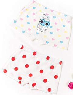 billige Undertøj og sokker til piger-Pige Undertøj Ensfarvet Prikker Tegneserie, Bomuld Alle årstider Simple Mikroelastisk Hvid Lyserød Gul