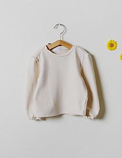 billige Hættetrøjer og sweatshirts til piger-Pige Hættetrøje og sweatshirt Ensfarvet, Bomuld Forår Langærmet Simple Beige