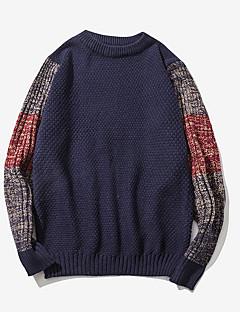 tanie Męskie swetry i swetry rozpinane-Męskie Okrągły dekolt Pulower Wielokolorowa Długi rękaw