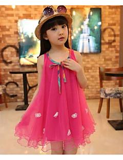 tanie Odzież dla dziewczynek-Sukienka Rayon Dziewczyny Wyjściowe Urlop Jendolity kolor Żakard Wiosna Lato Bez rękawów Urocza Moda miejska Fuchsia