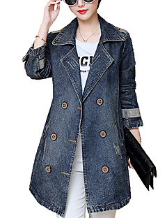 cheap -Women's Daily Going out Weekend Simple Casual Spring Fall Plus Size Long Denim Jacket, Solid Notch Lapel Cotton Polyester Poly-Cotton