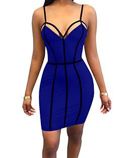Χαμηλού Κόστους Ειδικές Προσφορές-Γυναικεία Εξόδου Κομψό στυλ street Εφαρμοστό Θήκη Φόρεμα - Συμπαγές Χρώμα, Εξώπλατο Μίνι Τιράντες Μπλε