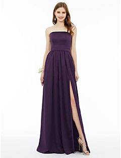 cheap Purple Passion-A-Line Princess Strapless Floor Length Chiffon Bridesmaid Dress with Sash / Ribbon Pleats Split Front by LAN TING BRIDE®