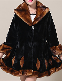 cheap -Women's Casual/Daily Simple Winter Fall Fur Coat,Solid V Neck Long Sleeve Regular Faux Fur Fur Trim