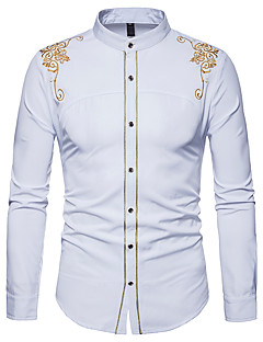 cheap Men's Shirts-Men's Work Slim Shirt - Floral Basic Standing Collar / Long Sleeve