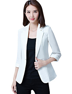 cheap -Women's Office & Career Work Formal Work Spring Summer Fall Plus Size Regular Solid Simple Shawl Lapel Polyester