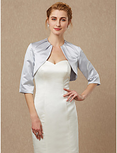 cheap Wedding Wraps-Half Sleeves Satin Wedding Party / Evening Women's Wrap With Ruching Shrugs