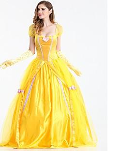 billige Halloweenkostymer-Prinsesse Chess Belle Cosplay Kostumer Maskerade Alle Halloween Festival / høytid Halloween-kostymer Gul Ensfarget