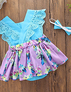 cheap The Freshest One-Piece-Baby Girls' Casual Daily / Going out Floral / Patchwork Lace up / Printing Sleeveless Cotton / Polyester Bodysuit Blue / Cute / Toddler