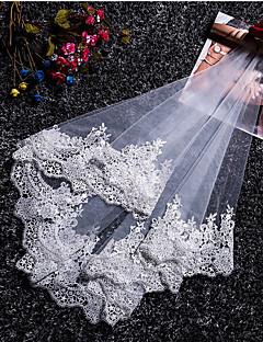お買い得  ウェディングベール-1段 モダンスタイル 結婚式 プリンセス シンプルなスタイル ウェディングベール フリンジ スプライシング  -  ショートベール レース チュール