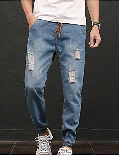billige Herrebukser og -shorts-Herre Normal Enkel Mikroelastisk Jeans Bukser, Mellomhøyt liv Polyester Ensfarget Vinter Høst