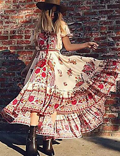 cheap Maxi Dresses-Women's Swing Dress - Floral, Tassel Maxi Strapless