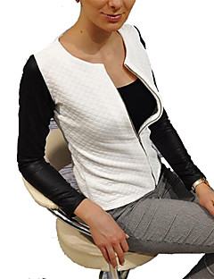 cheap -Women's Daily Simple Casual Spring Regular Jacket, Color Block Round Neck Polyester