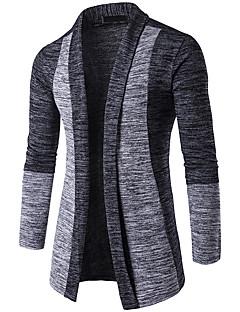 tanie Męskie swetry i swetry rozpinane-Męskie W serek Rozpinany Wielokolorowa Długi rękaw