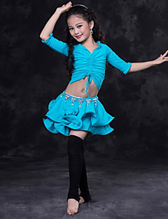 cheap Kids' Dancewear-Belly Dance Outfits Performance Spandex Ruching Half Sleeves Dropped Skirts Top